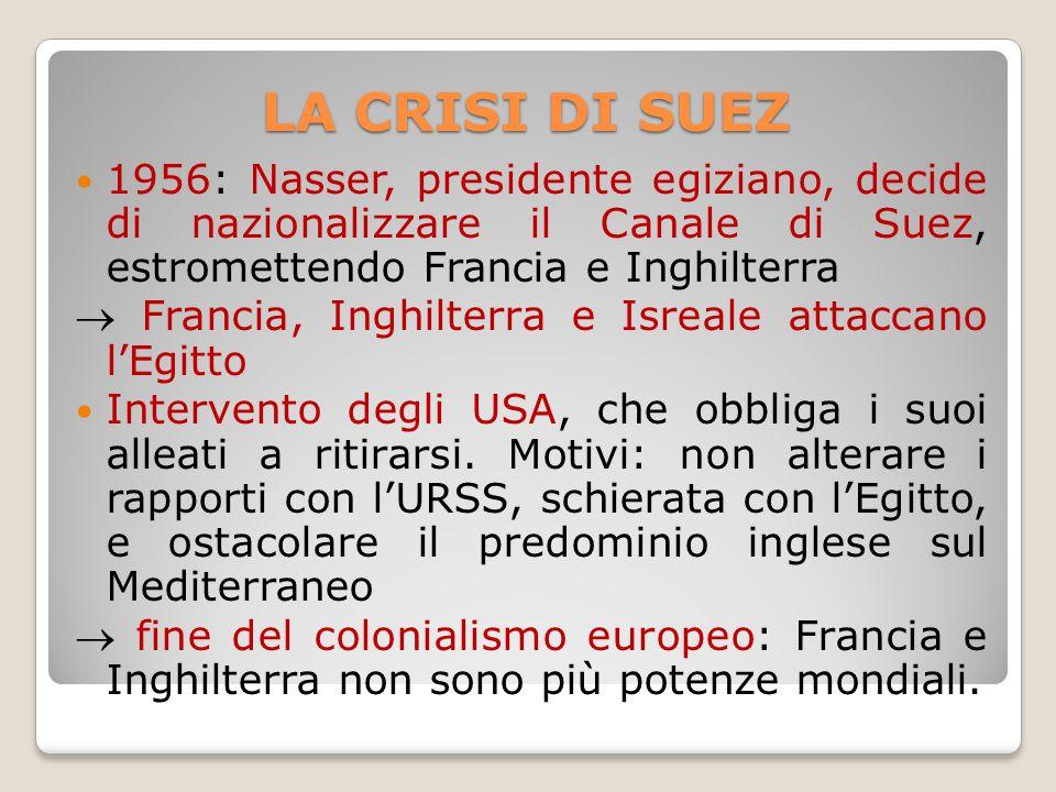 LA CRISI DI SUEZ 1956: Nasser, presidente egiziano, decide di nazionalizzare il Canale di Suez, estromettendo Francia e Inghilterra.