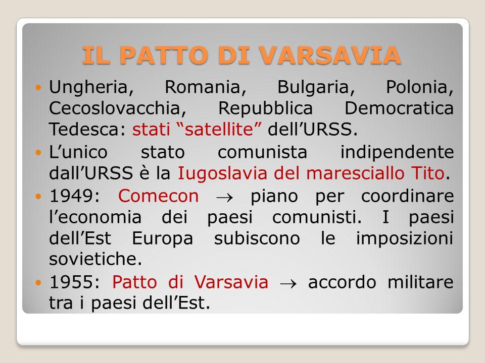 IL PATTO DI VARSAVIA Ungheria, Romania, Bulgaria, Polonia, Cecoslovacchia, Repubblica Democratica Tedesca: stati satellite dell'URSS.