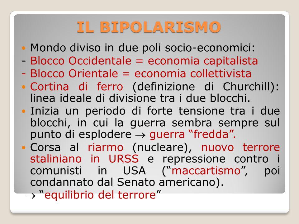 IL BIPOLARISMO Mondo diviso in due poli socio-economici: