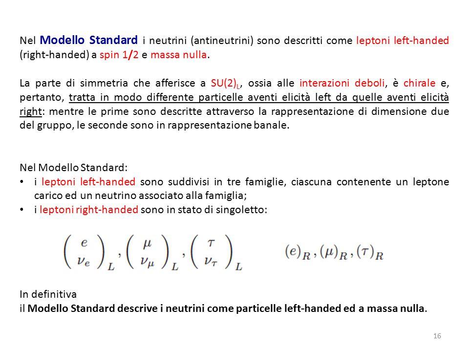 Nel Modello Standard i neutrini (antineutrini) sono descritti come leptoni left-handed (right-handed) a spin 1/2 e massa nulla.