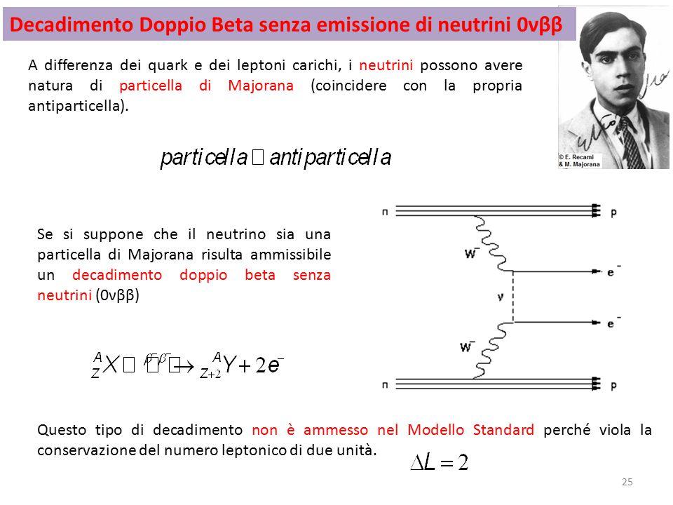 Decadimento Doppio Beta senza emissione di neutrini 0νββ