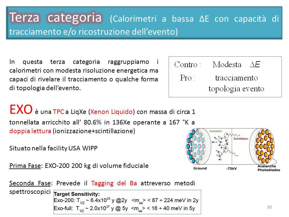 Terza categoria (Calorimetri a bassa ΔΕ con capacità di tracciamento e/o ricostruzione dell'evento)