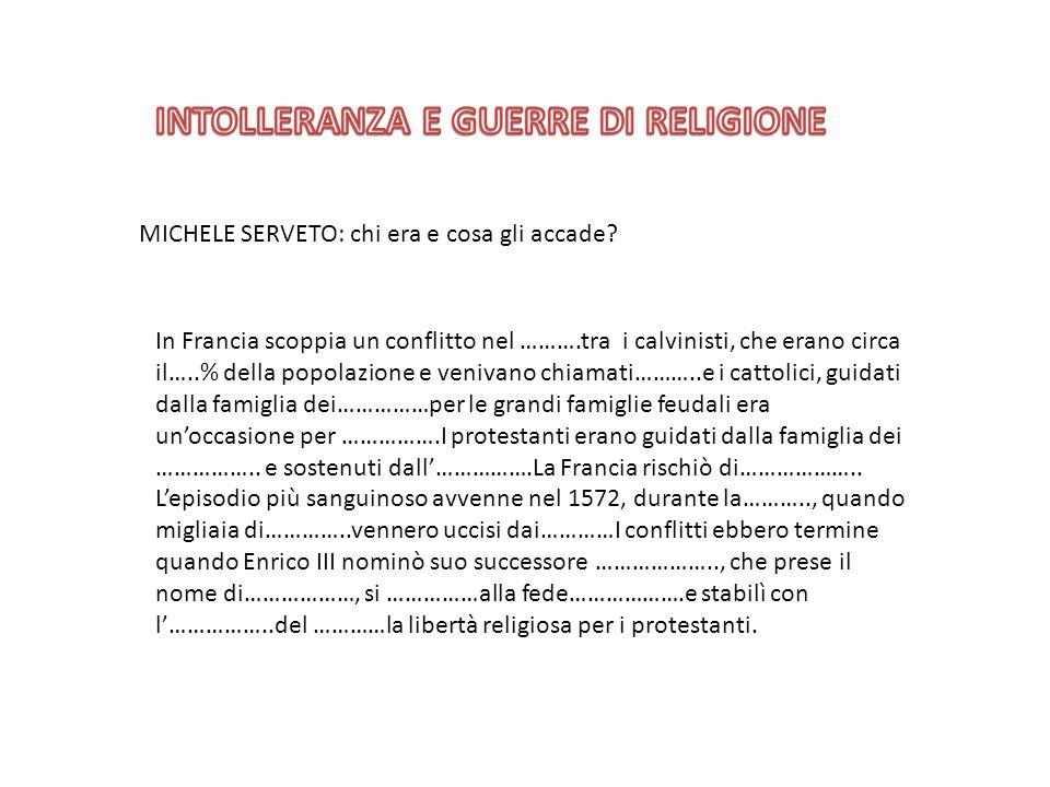 INTOLLERANZA E GUERRE DI RELIGIONE
