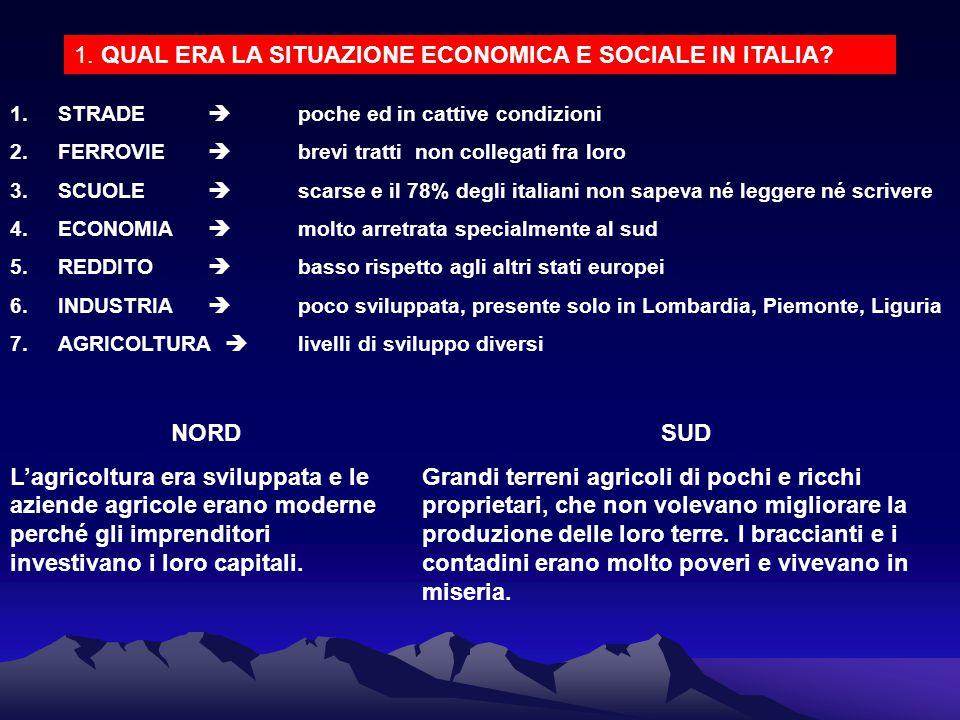 1. QUAL ERA LA SITUAZIONE ECONOMICA E SOCIALE IN ITALIA