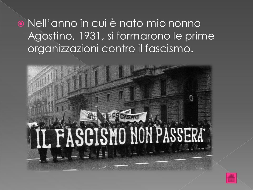 Nell'anno in cui è nato mio nonno Agostino, 1931, si formarono le prime organizzazioni contro il fascismo.