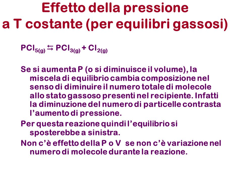 Effetto della pressione a T costante (per equilibri gassosi)