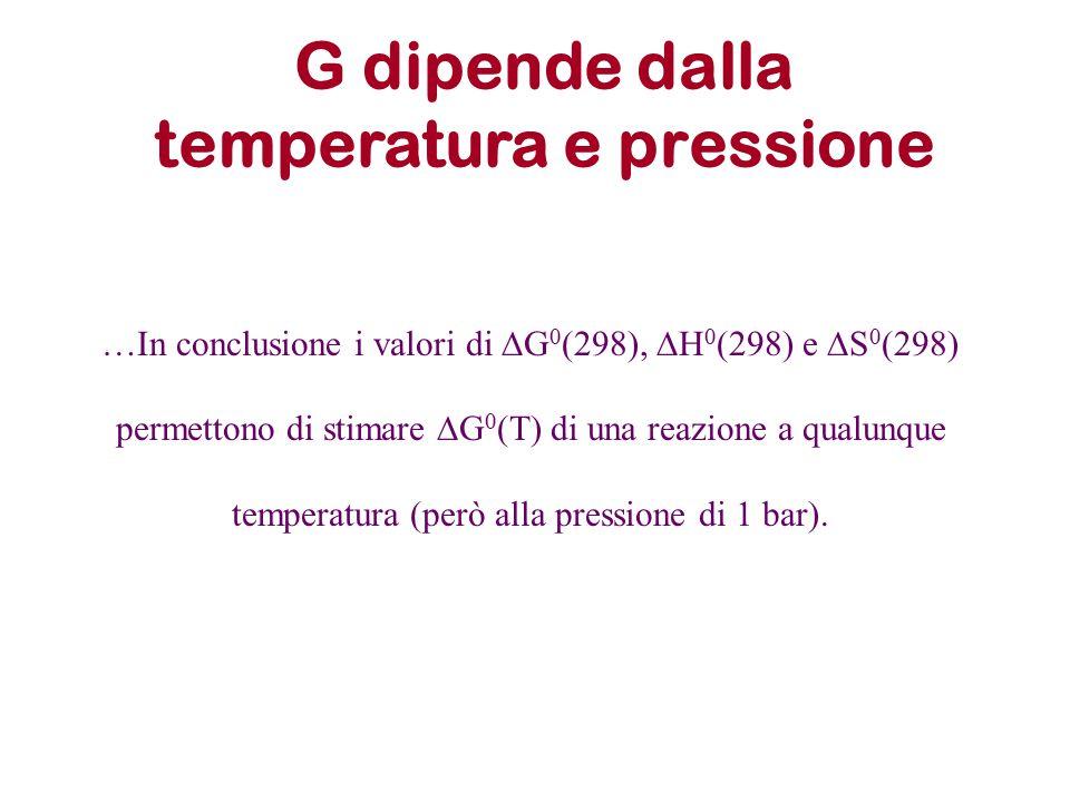 G dipende dalla temperatura e pressione