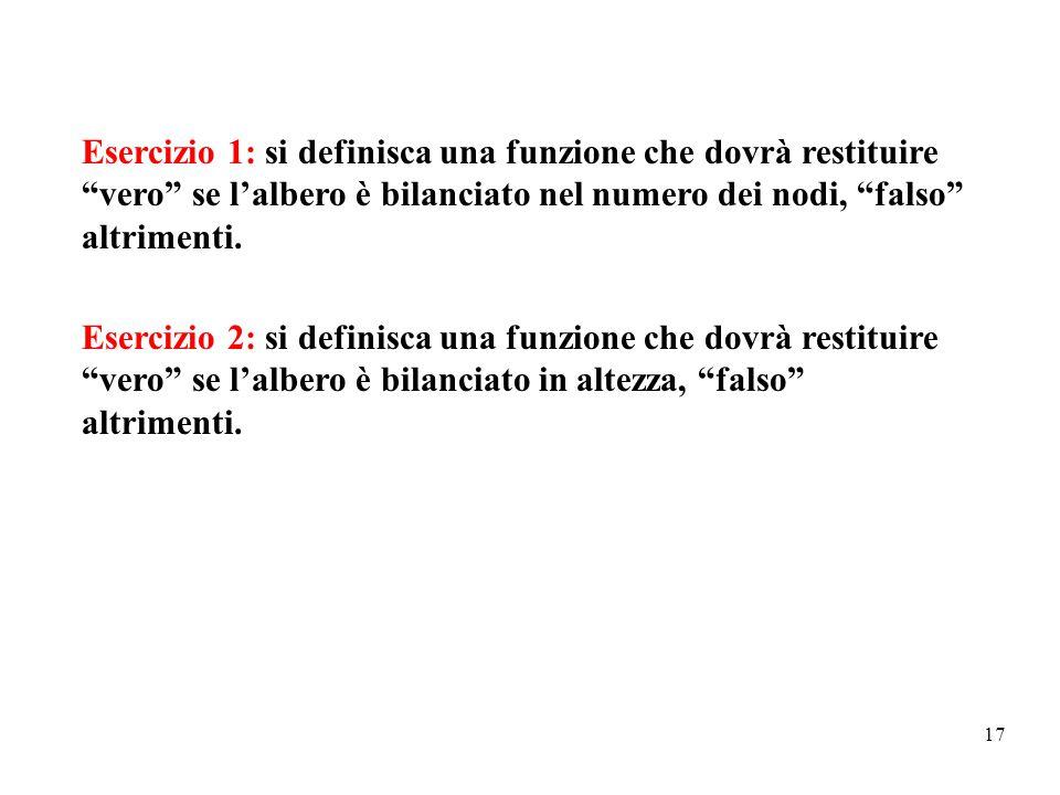 Esercizio 1: si definisca una funzione che dovrà restituire vero se l'albero è bilanciato nel numero dei nodi, falso altrimenti.