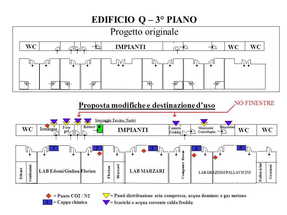 EDIFICIO Q – 3° PIANO Progetto originale