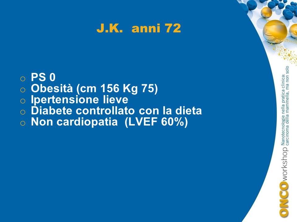 J.K. anni 72 PS 0 Obesità (cm 156 Kg 75) Ipertensione lieve