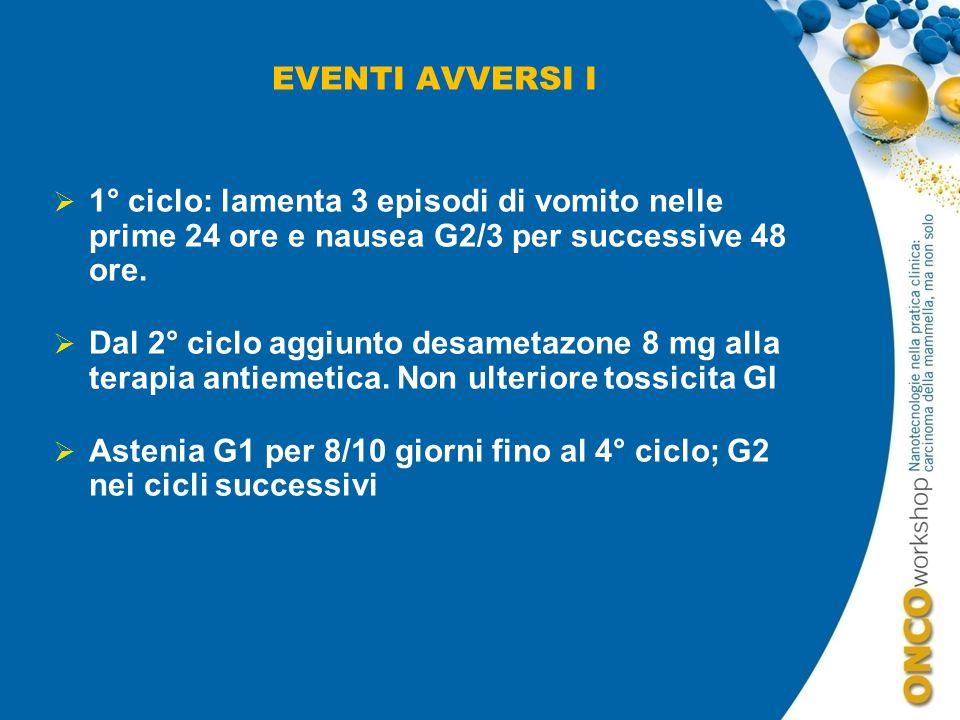 EVENTI AVVERSI I 1° ciclo: lamenta 3 episodi di vomito nelle prime 24 ore e nausea G2/3 per successive 48 ore.