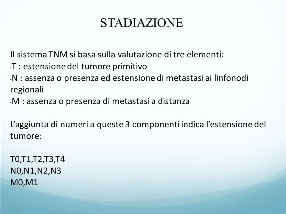 STADIAZIONE Il sistema TNM si basa sulla valutazione di tre elementi: