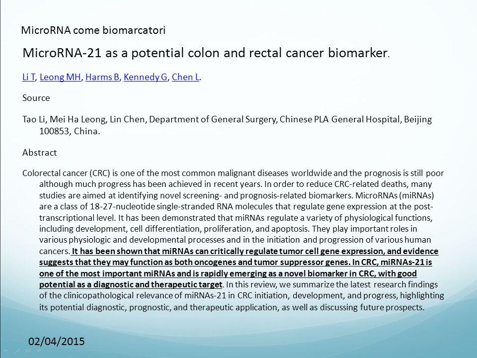 MicroRNA come biomarcatori