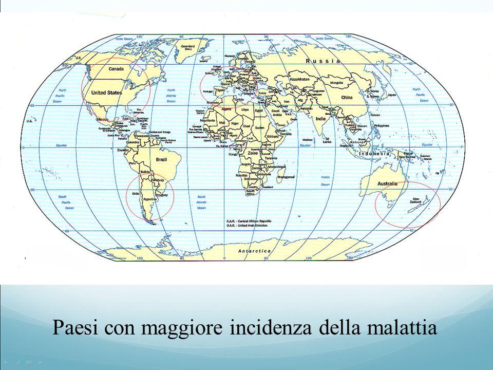 Paesi con maggiore incidenza della malattia