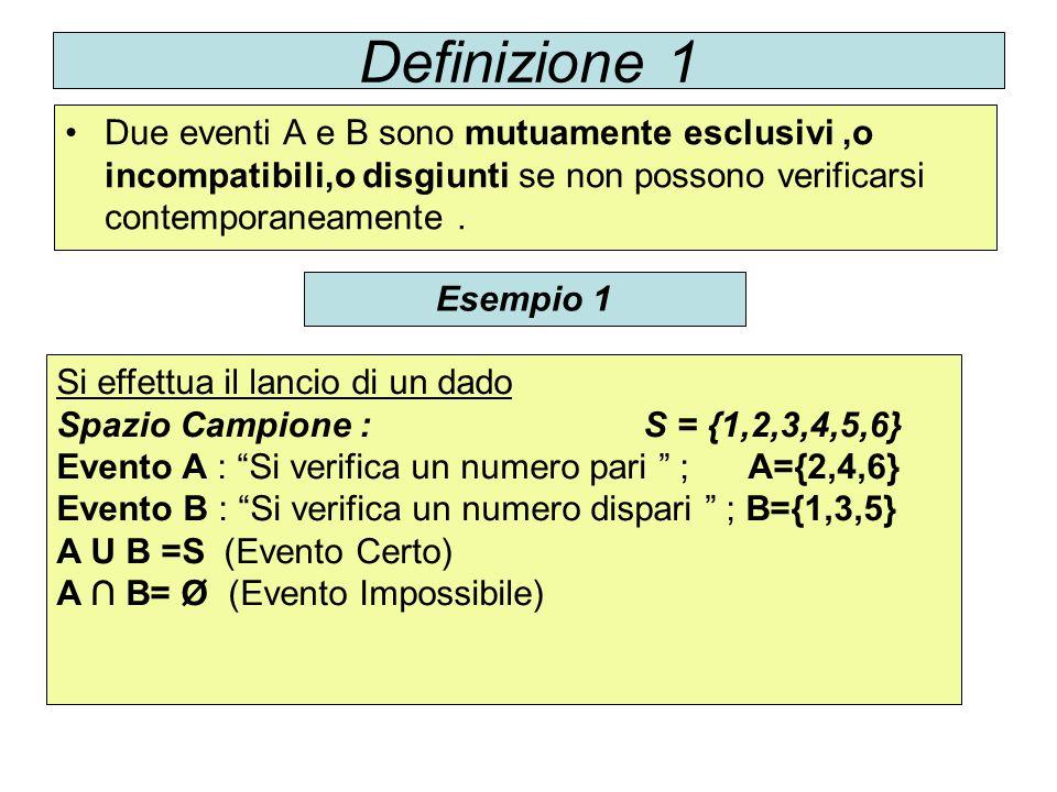 Definizione 1 Due eventi A e B sono mutuamente esclusivi ,o incompatibili,o disgiunti se non possono verificarsi contemporaneamente .