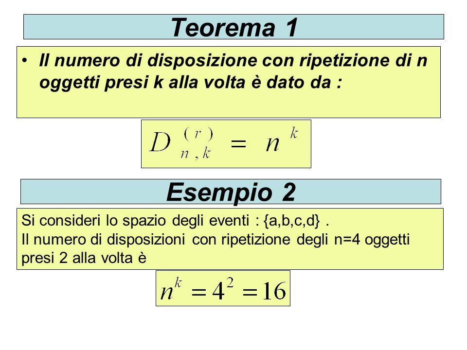 Teorema 1 Il numero di disposizione con ripetizione di n oggetti presi k alla volta è dato da : Esempio 2.