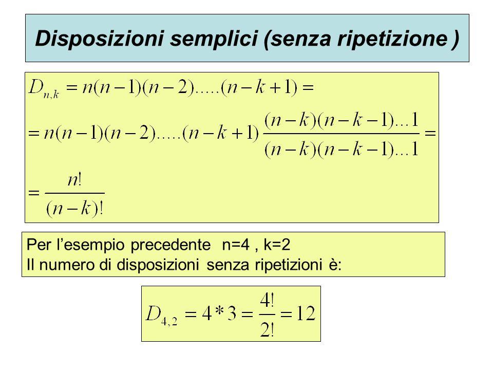 Disposizioni semplici (senza ripetizione )