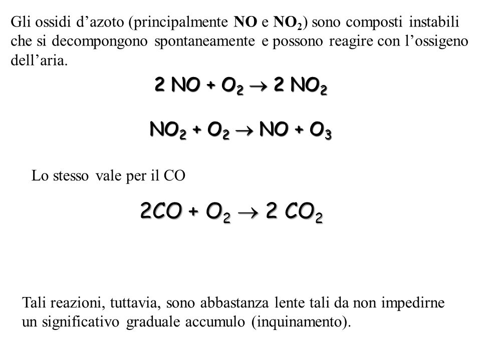2CO + O2  2 CO2 2 NO + O2  2 NO2 NO2 + O2  NO + O3