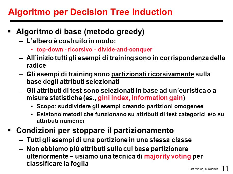 Algoritmo per Decision Tree Induction