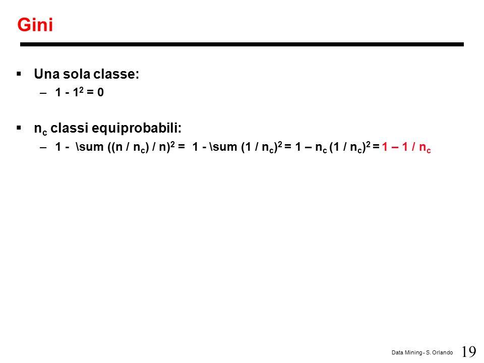 Gini Una sola classe: nc classi equiprobabili: 1 - 12 = 0