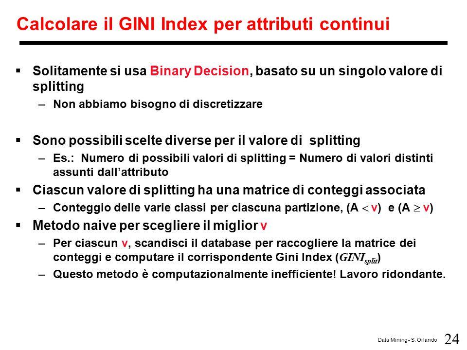 Calcolare il GINI Index per attributi continui