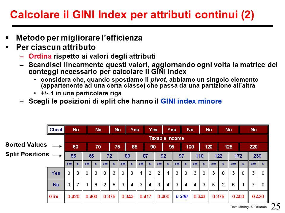 Calcolare il GINI Index per attributi continui (2)