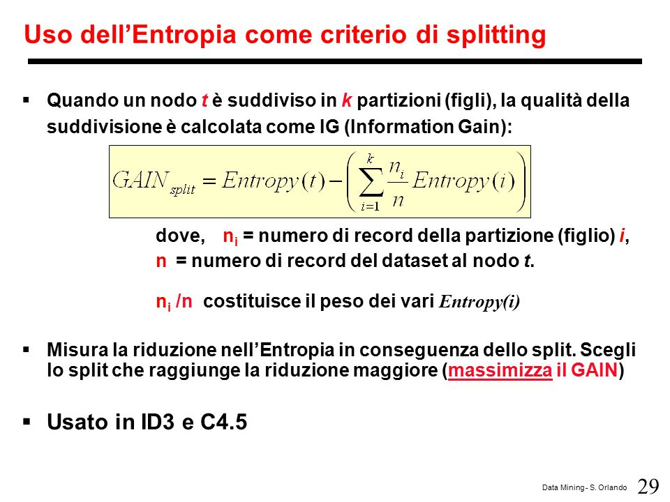 Uso dell'Entropia come criterio di splitting