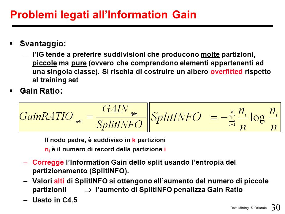 Problemi legati all'Information Gain