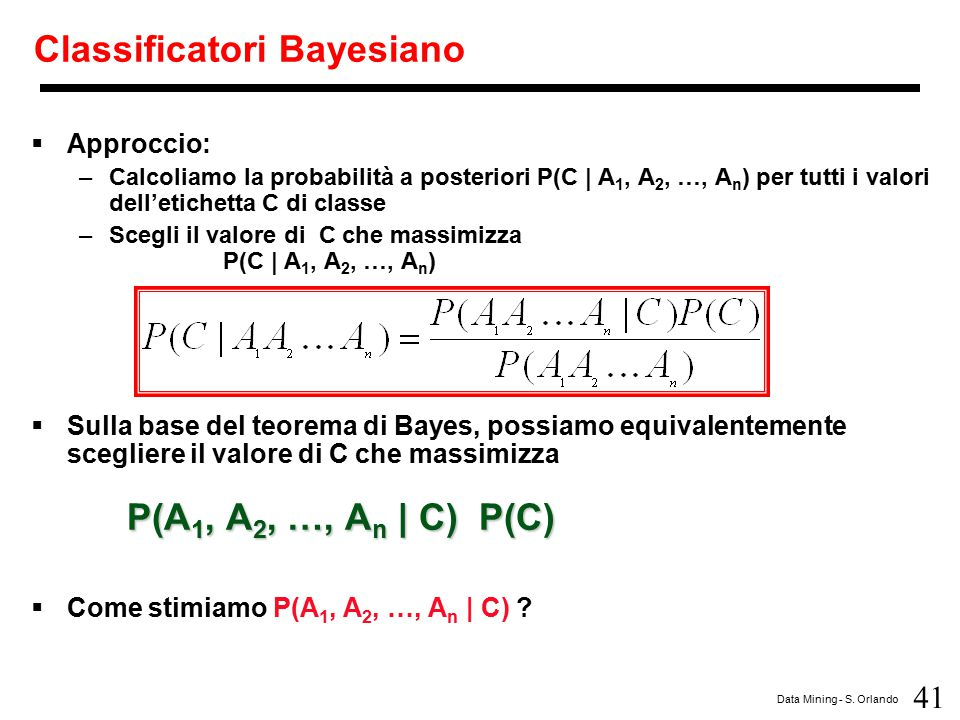 Classificatori Bayesiano