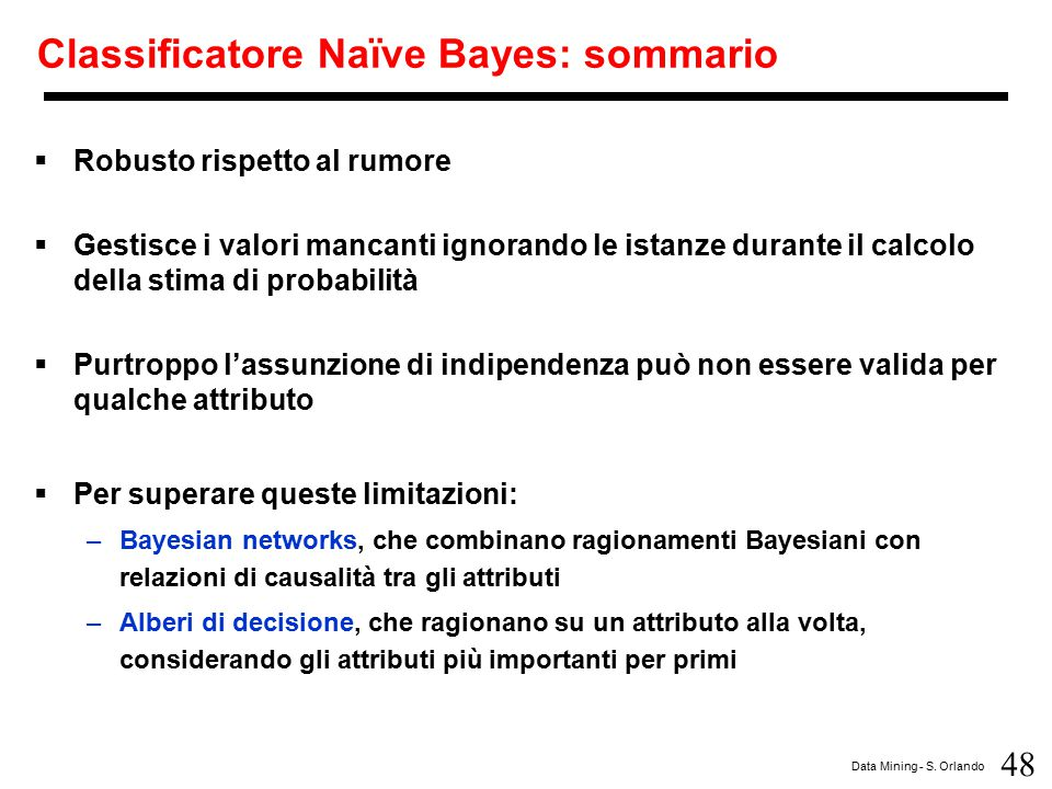 Classificatore Naïve Bayes: sommario