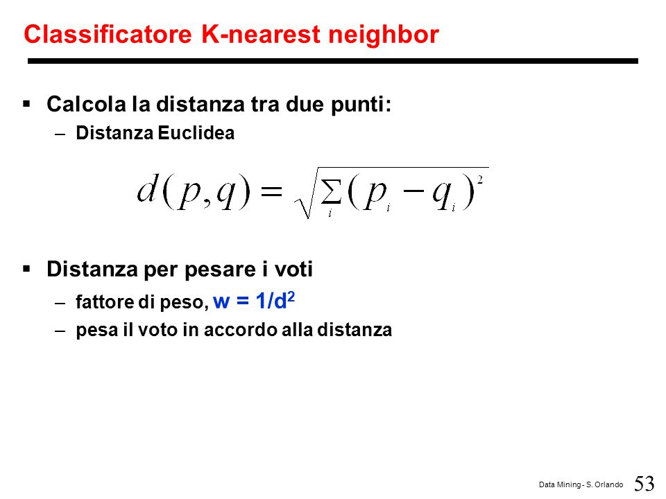 Classificatore K-nearest neighbor
