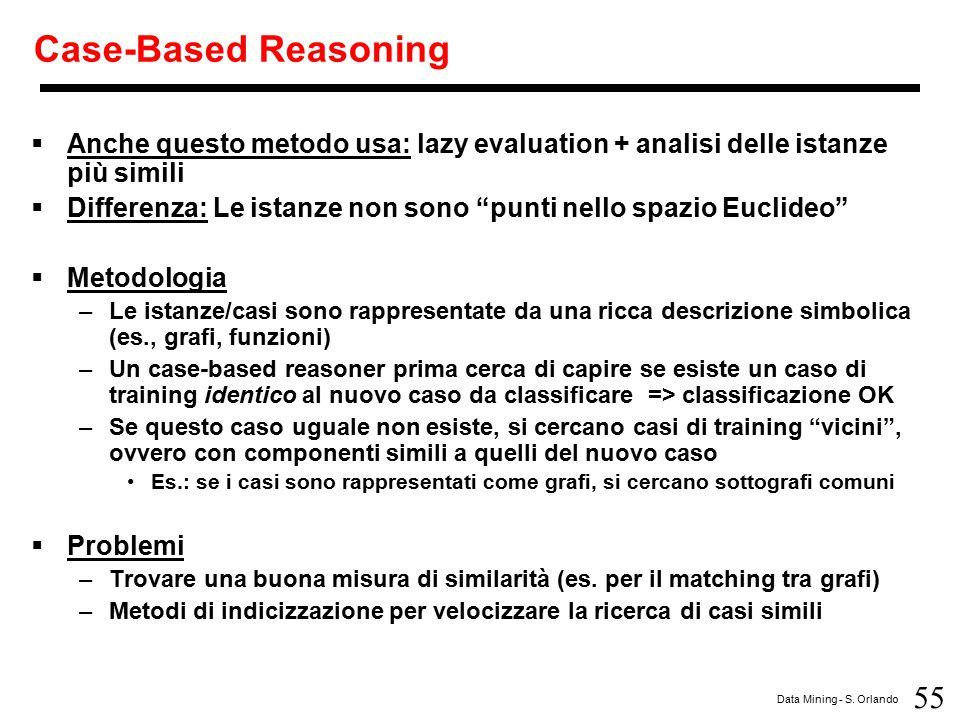 Case-Based Reasoning Anche questo metodo usa: lazy evaluation + analisi delle istanze più simili.