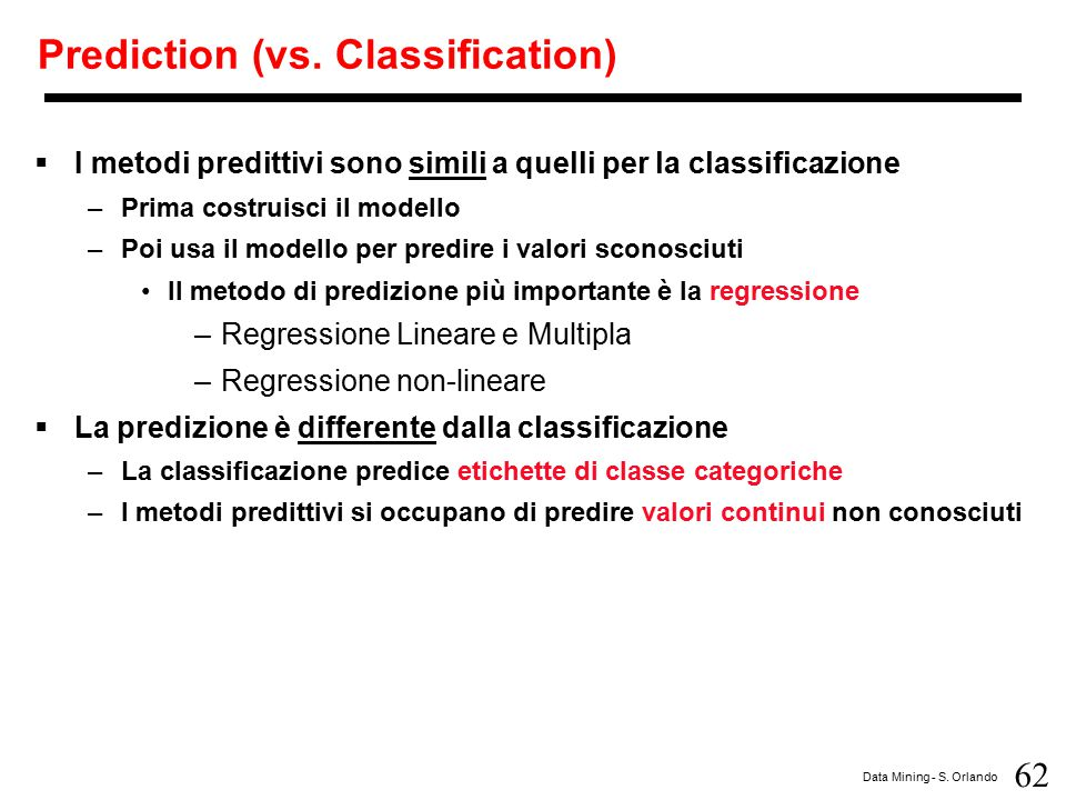 Prediction (vs. Classification)