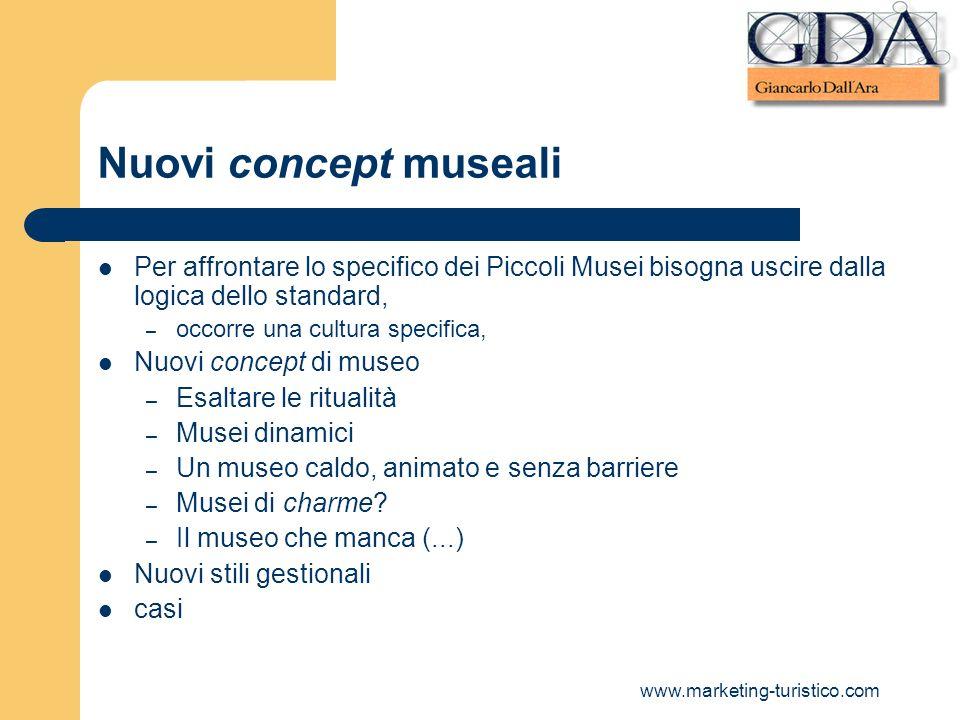 Nuovi concept museali Per affrontare lo specifico dei Piccoli Musei bisogna uscire dalla logica dello standard,