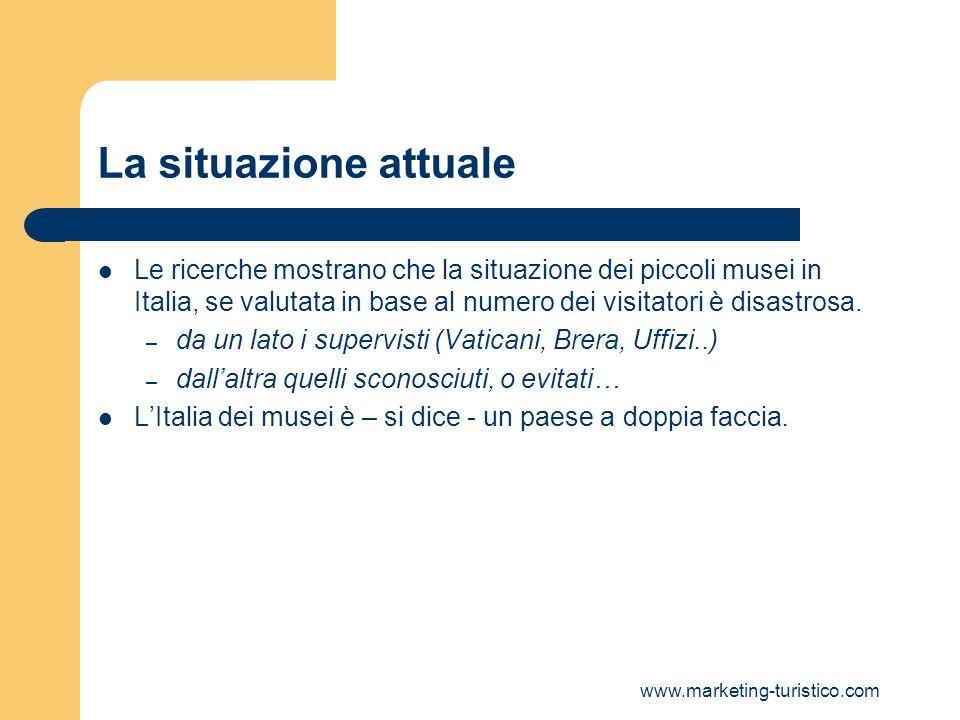 La situazione attualeLe ricerche mostrano che la situazione dei piccoli musei in Italia, se valutata in base al numero dei visitatori è disastrosa.