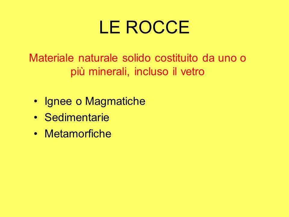 LE ROCCE Materiale naturale solido costituito da uno o più minerali, incluso il vetro. Ignee o Magmatiche.