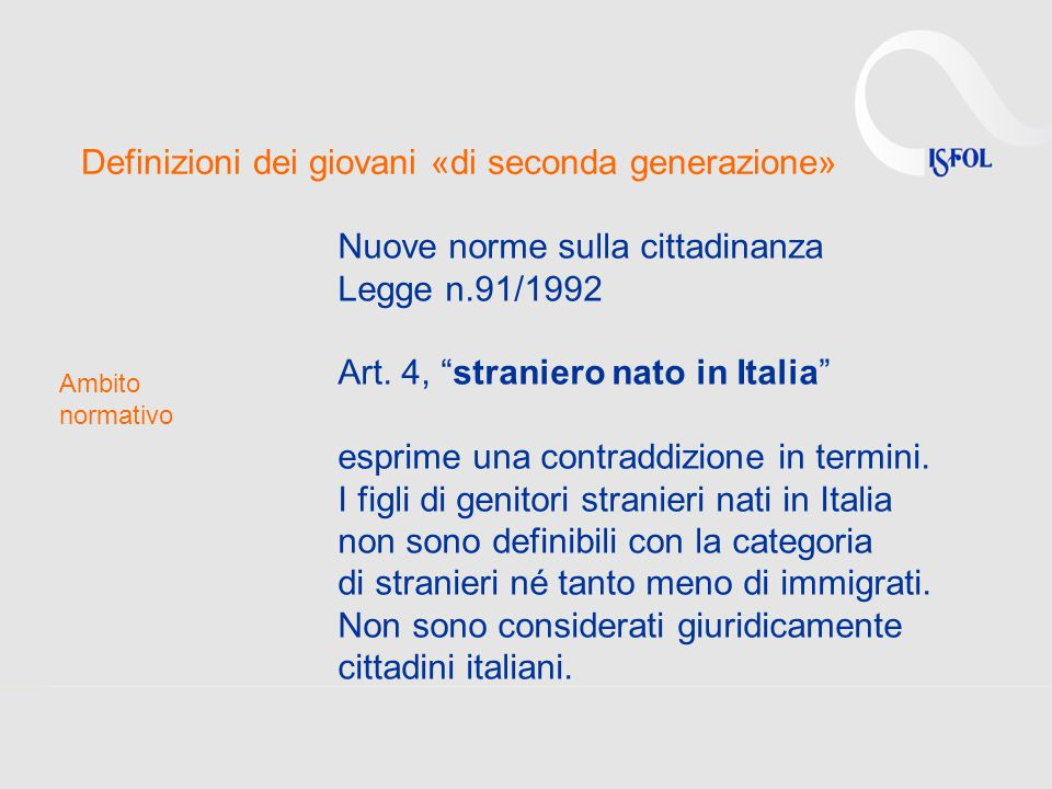 Definizioni dei giovani «di seconda generazione»