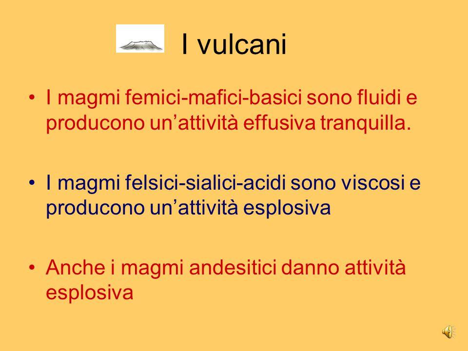 I vulcani I magmi femici-mafici-basici sono fluidi e producono un'attività effusiva tranquilla.