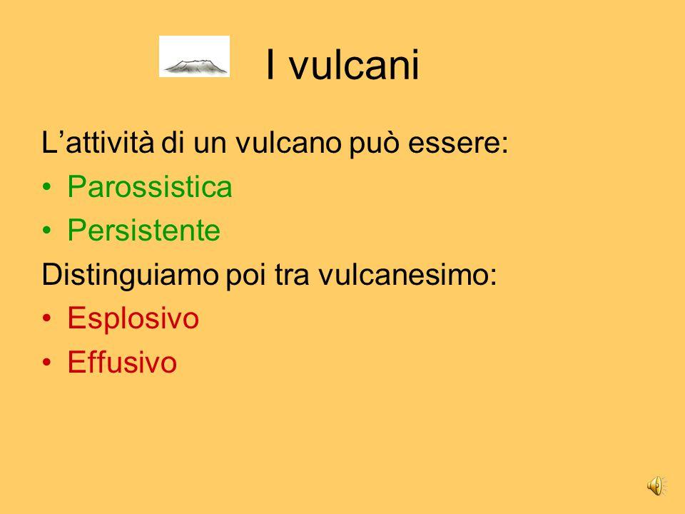 I vulcani L'attività di un vulcano può essere: Parossistica