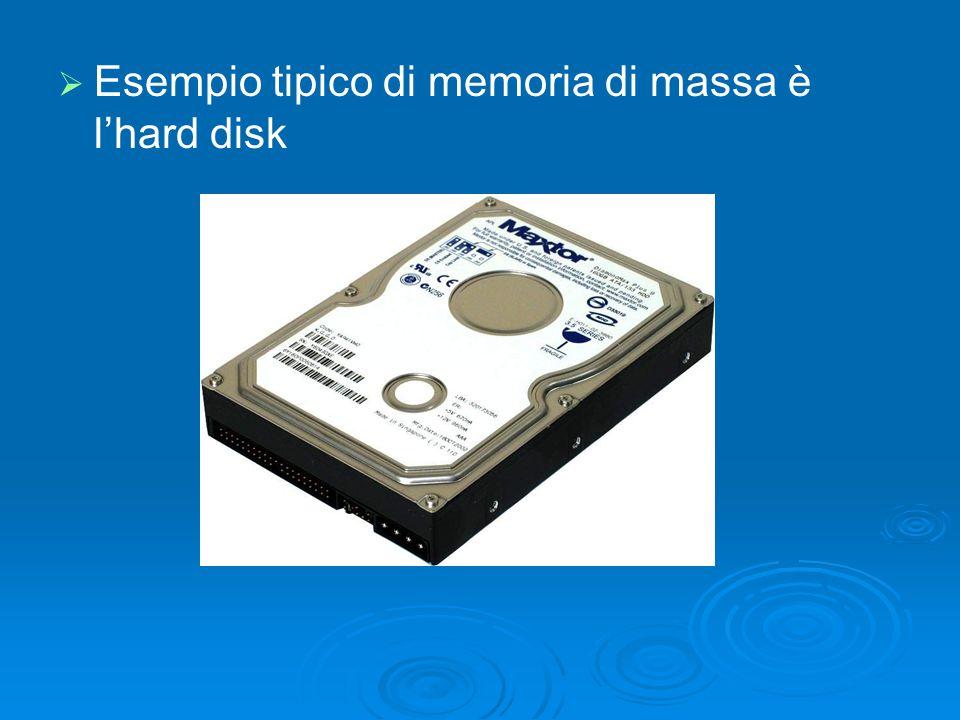 Esempio tipico di memoria di massa è l'hard disk