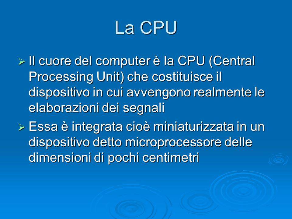 La CPU Il cuore del computer è la CPU (Central Processing Unit) che costituisce il dispositivo in cui avvengono realmente le elaborazioni dei segnali.