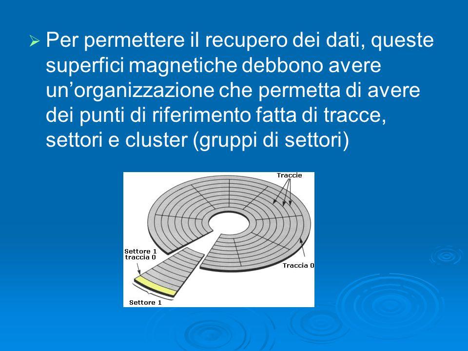 Per permettere il recupero dei dati, queste superfici magnetiche debbono avere un'organizzazione che permetta di avere dei punti di riferimento fatta di tracce, settori e cluster (gruppi di settori)