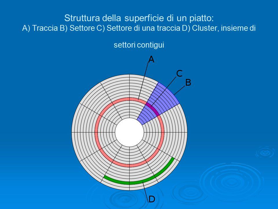 Struttura della superficie di un piatto: A) Traccia B) Settore C) Settore di una traccia D) Cluster, insieme di settori contigui