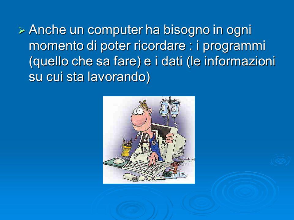 Anche un computer ha bisogno in ogni momento di poter ricordare : i programmi (quello che sa fare) e i dati (le informazioni su cui sta lavorando)