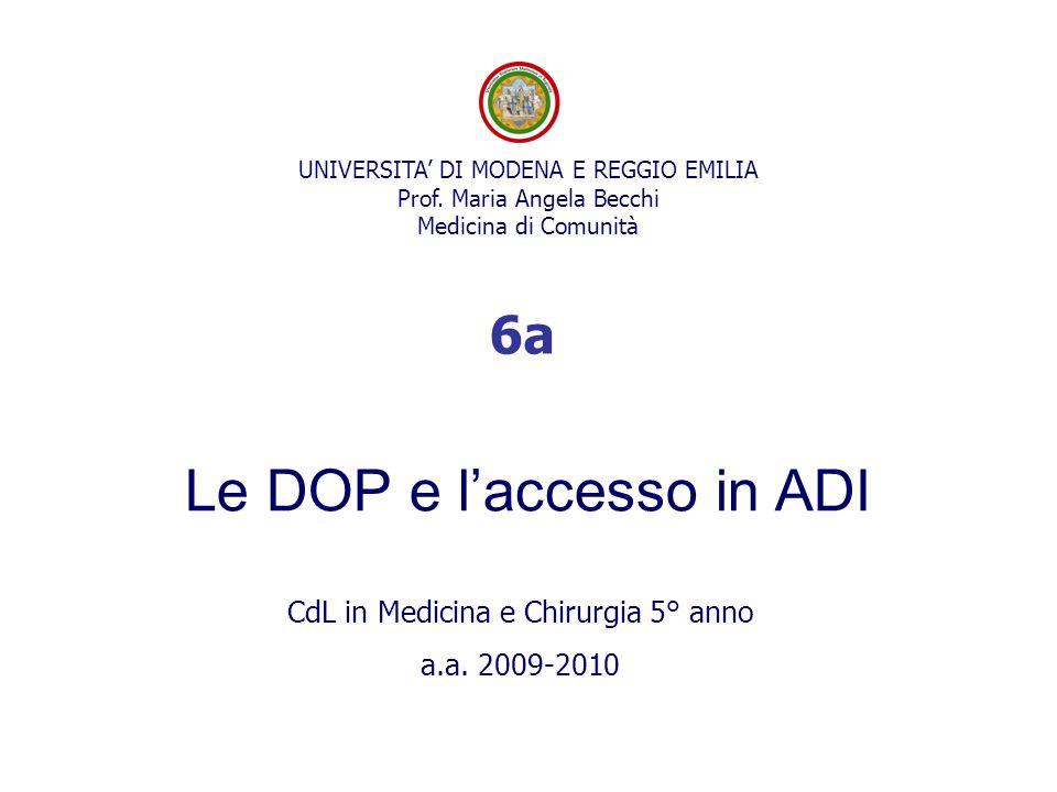 Le DOP e l'accesso in ADI