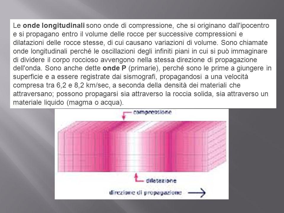 Le onde longitudinali sono onde di compressione, che si originano dall ipocentro e si propagano entro il volume delle rocce per successive compressioni e dilatazioni delle rocce stesse, di cui causano variazioni di volume.