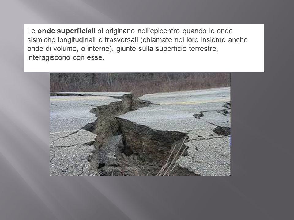 Le onde superficiali si originano nell epicentro quando le onde sismiche longitudinali e trasversali (chiamate nel loro insieme anche onde di volume, o interne), giunte sulla superficie terrestre, interagiscono con esse.