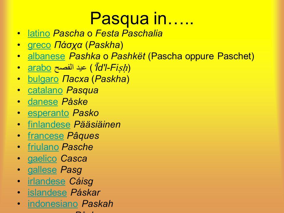 Pasqua in….. latino Pascha o Festa Paschalia greco Πάσχα (Paskha)
