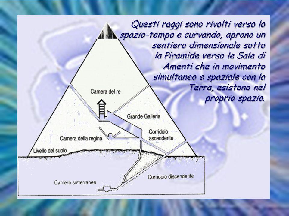Questi raggi sono rivolti verso lo spazio-tempo e curvando, aprono un sentiero dimensionale sotto la Piramide verso le Sale di Amenti che in movimento simultaneo e spaziale con la Terra, esistono nel proprio spazio.