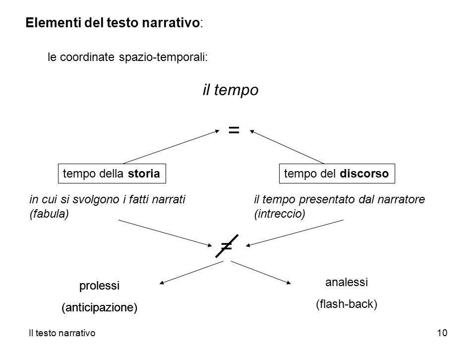 = = il tempo Elementi del testo narrativo:
